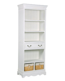 Narrow Bookcase Dresser, White