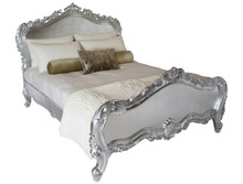 French Softly Carved Bed, Silver leaf