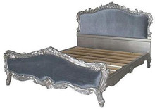 French Softly Carved Upholstered Bed, Silver leaf & Blue Velvet
