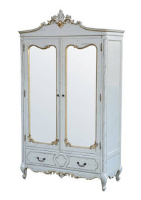 Marie Double Door Armoire. Gold & Blue