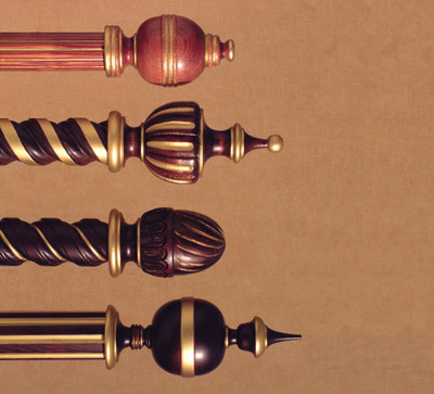 Traditional Poles, Custom made decorative curtain poles by H&H
