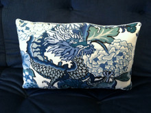 Chiang Mai Dragon Throw Pillow, fabric by Schumacher