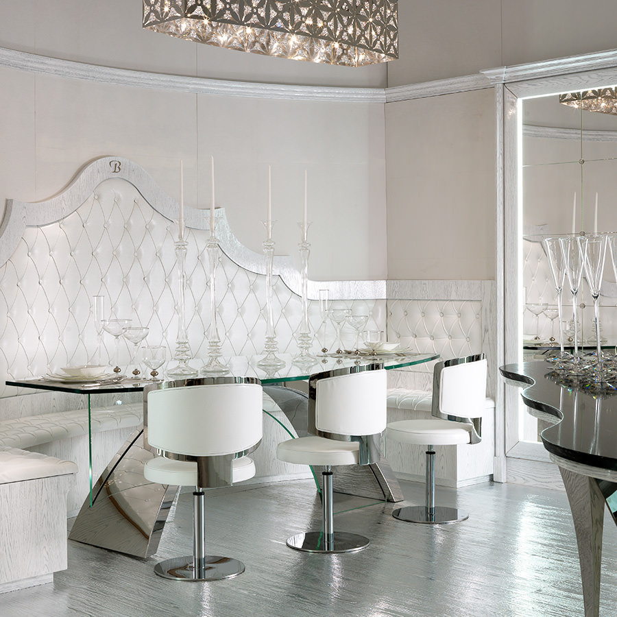 Luxury Dining Table, Lucite dining table white and silver