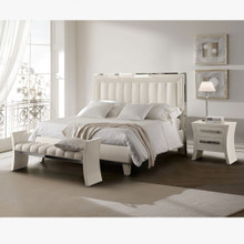 Glam Bedroom Set, White & Silver