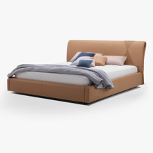Leather Bed, Beige Soft Leather