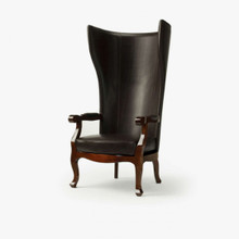 Wing Chair, Testa Di Moro Leather & Shiny Mahogany Finish