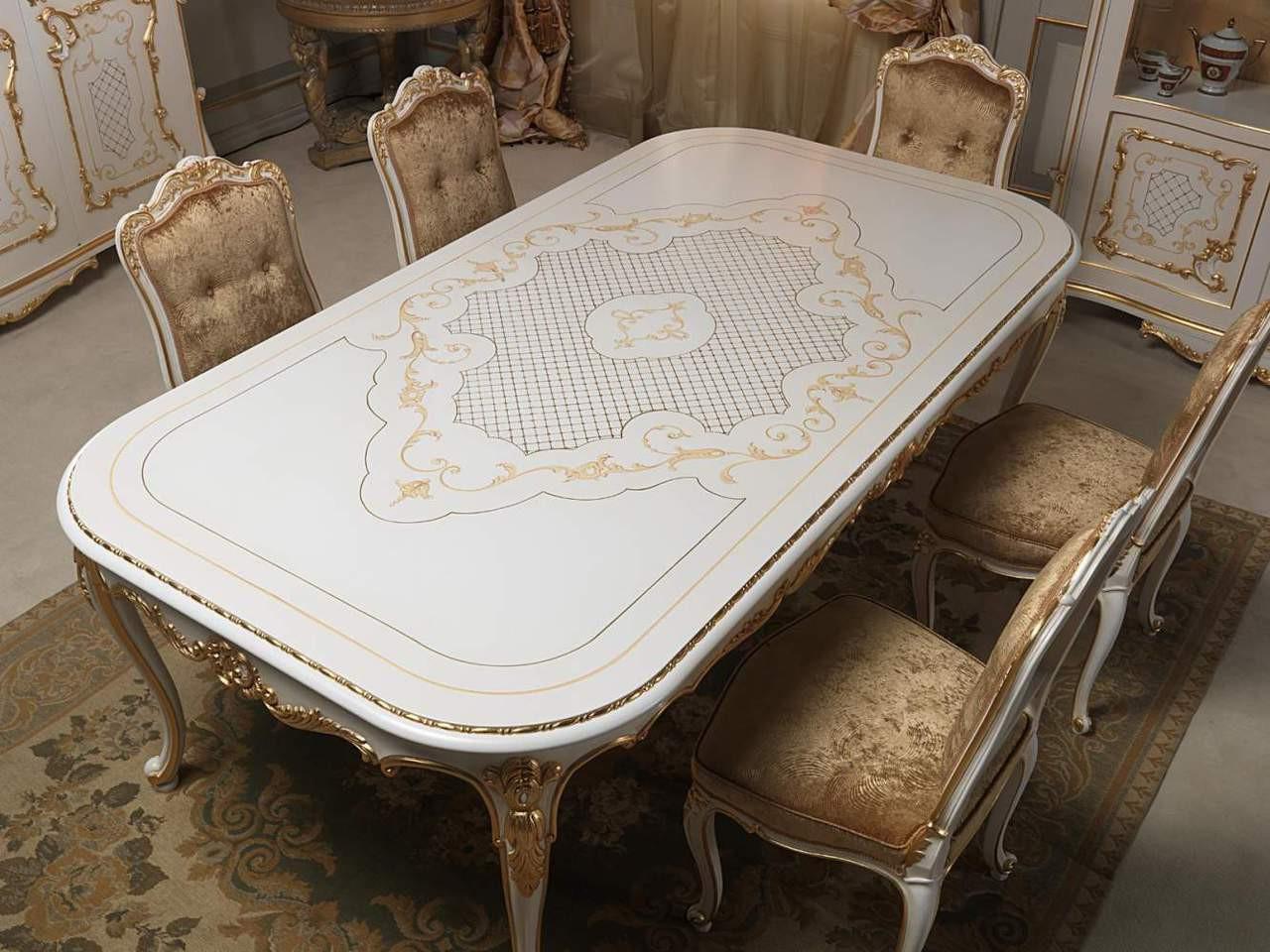 Dining Room Set White Gold Louis XVI Image 1 Loading Zoom