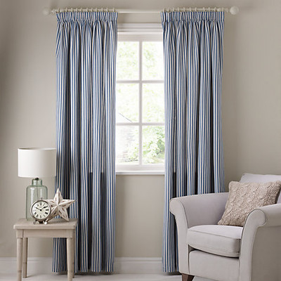 Curtains Ticking Stripe Blue And White