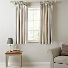 Ticking Curtains, Pencil Headed, Beige & White