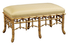 Bamboo Upholstered Bench, 6 legs