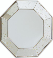 Hectagontal Mirrored Mirror, Antiqued