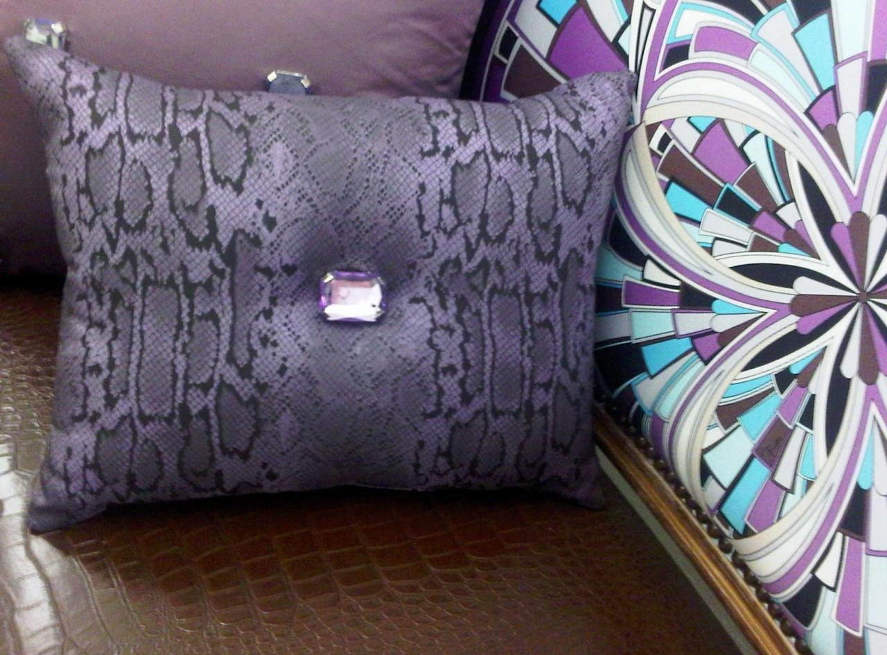 Purple Boudoir Throw Pillow Lumbar Snakeskin