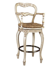 French Ladderback bar-height swivel stool with arms