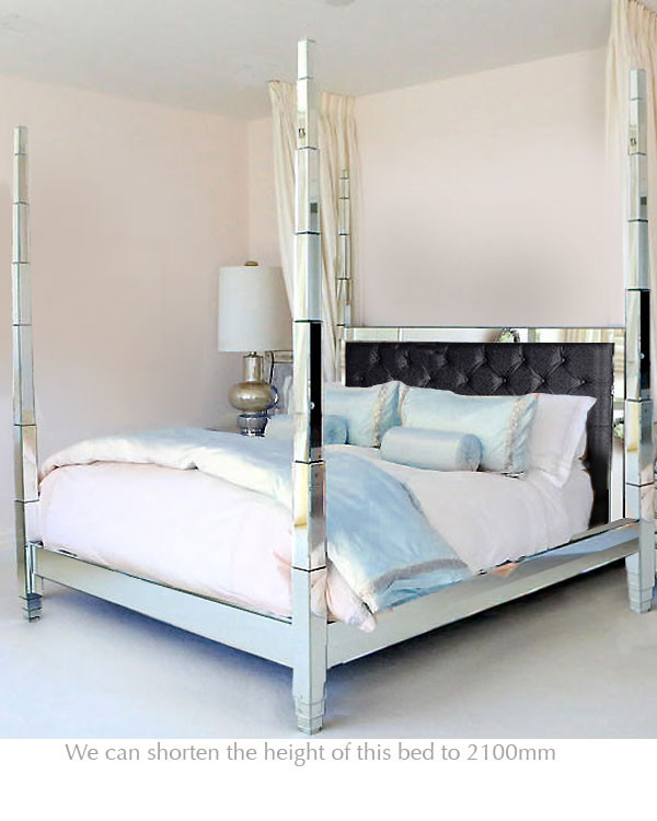 Mirrored Four Poster Bed Luxury Mirrored Furniture