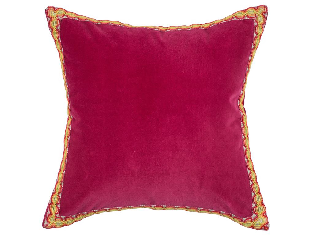 Red Velvet Throw Pillow With Trim Couch Pillows