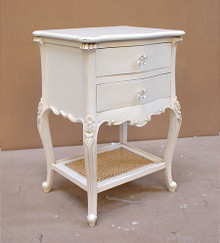 Rattan Night Table, Chateau White with natural Rattan Shelf