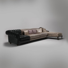 Beige & Brown Sectional Sectional Sofa with Chaise