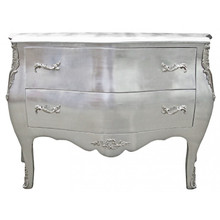 Baroque Chest of Drawers, Louis XV Silver Leaf 2 Drawers