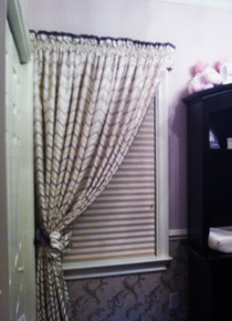 Herringbone Curtain, white, lavender and silver multi