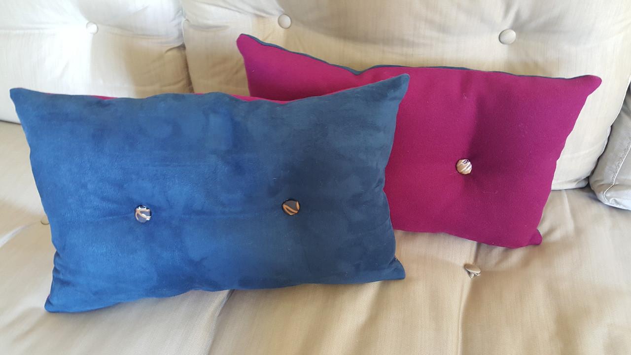 Pink Lumbar Throw Pillow With Missoni Button Detail