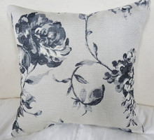 Floral Boudoir Pillow, Black And Grey