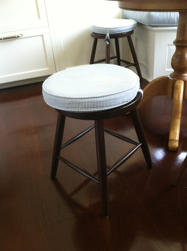 Country Bar Stool Cushions Round Blue And White Stripe