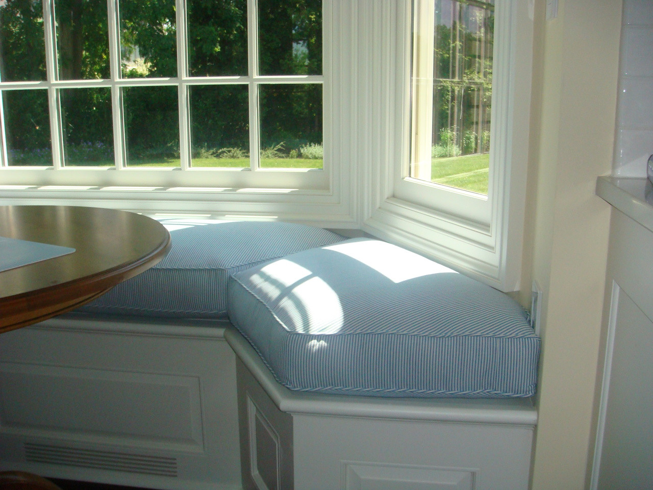 Seat Cushion For Bay Window Blue And White Stripe