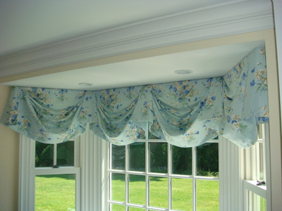 Swag Valance Kitchen Curtains Blue Floral Fabric By Jane
