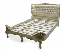 French Upholstered Bed, Shown in White