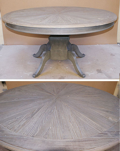 Rustic dining table round table distressed for Distressed round dining table