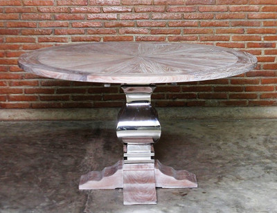 Chrome And Wood Dining Table Round