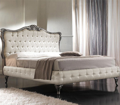 French Tufted Bed Silver Amp Ivory