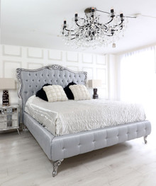 French Style Silver Tufted Bed, Silver Velvet