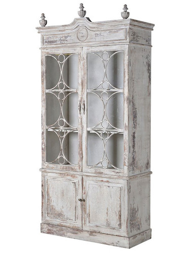 Ornate Distressed White Bookcases