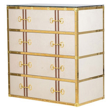 Leather Trunk Chest with Gold Trim