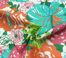 HERITAGE FLORAL AQUA/ORANGE Fabric Lee Jofa
