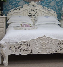 Rococo Bed Set, Antique White