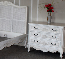 Rococo 3 Drawer Chest, Antique White
