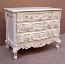 Rococo 3 Drawer Chest, Antique White with white handles