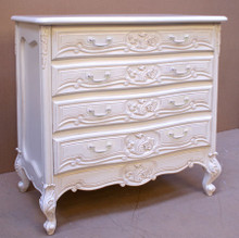 Rococo 4 Drawer Chest, Antique White with white handles