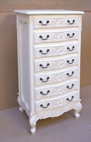 Rococo 7 Drawer Chest, Antique White
