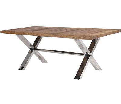 ... Chrome Cross Leg Dining Table. Image 1