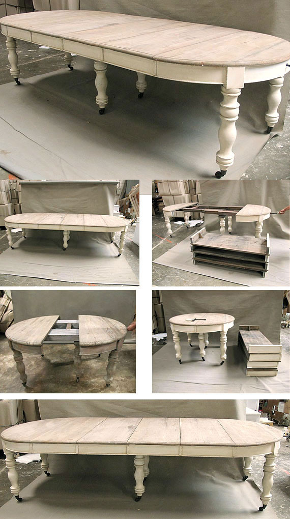 French Oval Dining Table Ivory