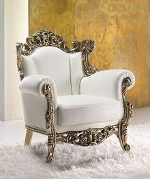 White Leather Throne Armchair