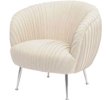 Art Deco Pleated Armchair, Cream Leather