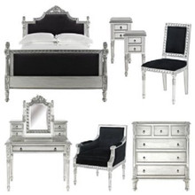 Josephine Bedroom Set, Black And Silver