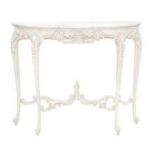 French Chateau White Console Table