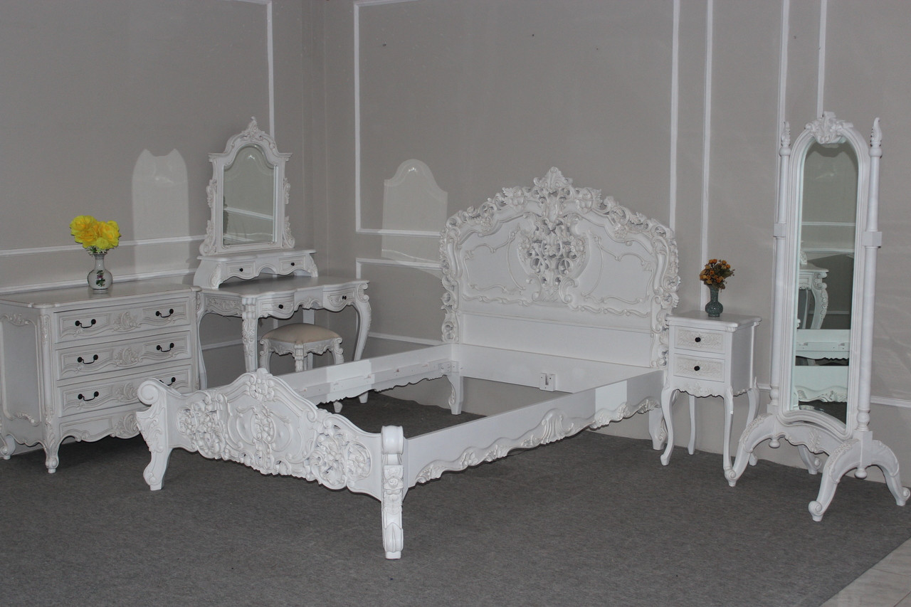Rococo Bedroom Set, Antique White 6 piece