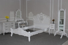 Rococo Bedroom Set, Antique White 6 piece