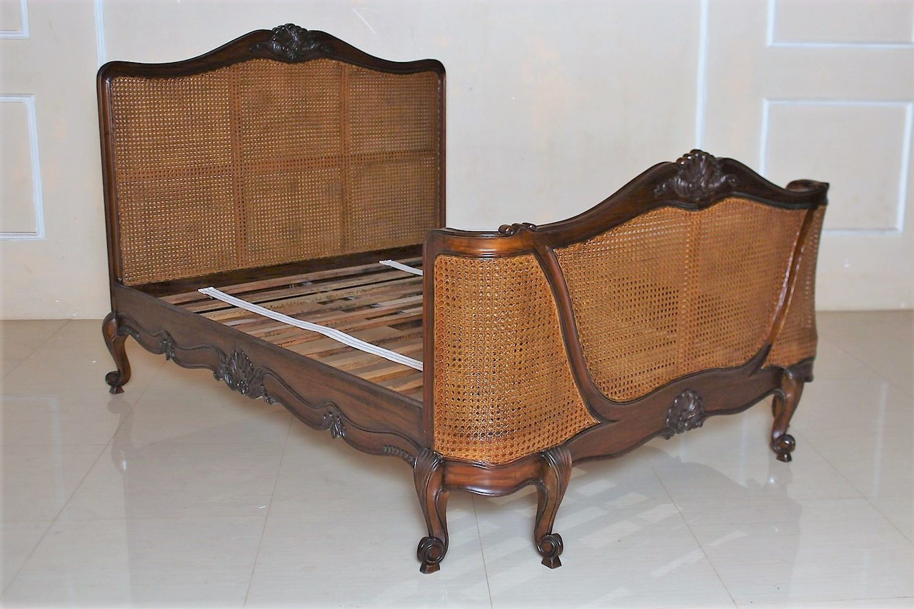 French Chateau Rattan Bedroom Set, Walnut